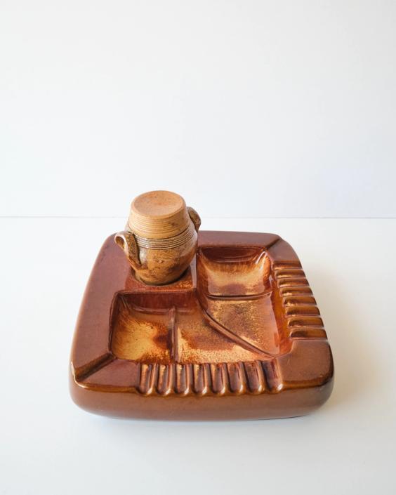 Large Vintage Ceramic Ashtray With Lidded Jar by ShopLantanaLane