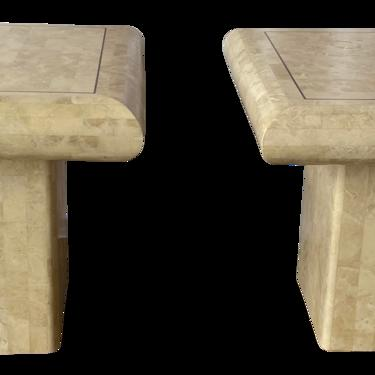1980s Maitland-Smith Tessellated Marble Side Tables - a Pair