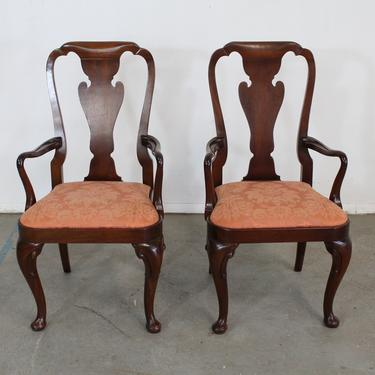 Pair of Queen Anne Solid Mahogany Dining Arm Chairs by Baker by AnnexMarketplace