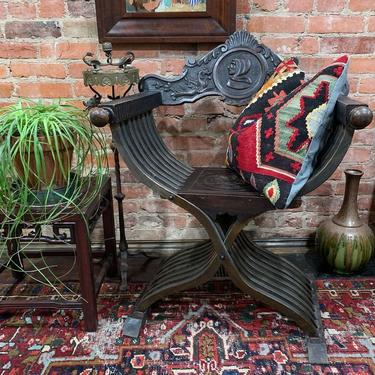 Antique Savonarola chair with brass dragon smoke stand