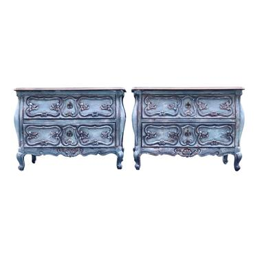 Louis XV Style French Provincial Two Drawer Nightstands - a Pair by 2ndStoryTradingCo