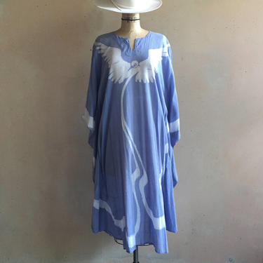 Vintage 70s Authentic Batik Hand dyed by artist Ron Gerlach Super Soft Sheer Cotton Caftan Tunic Maxi Dress by LucileVintage