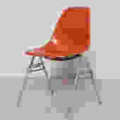 Orange Eames Chair for Herman Miller with H Base