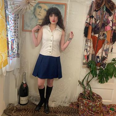 60's MOD MINI DRESS - drop waist - navy white - pleats - large collar - medium by GlamItToHell