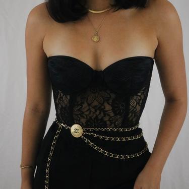 Vintage Black Silk + Lace La Perla Bustier Corset - 34D/36C/32DD by LadyLVintageCo