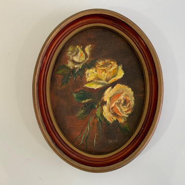 Vintage Framed Floral Original Painting Art White Roses Flowers Rose Gold Wood Frame Painted Oil Acrylic Paint Amateur Painter Oval Canvas by CheckEngineVintage