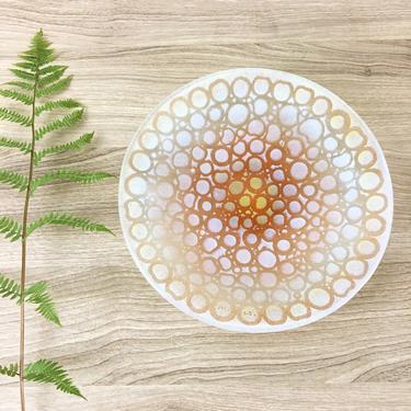 Maurice Heaton art glass circles bowl - mid century decorative art by NextStageVintage