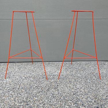 Vintage Set Orange Wire Plant Stands by DesertCactusVintage