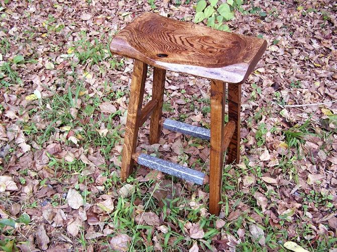Reclaimed Oak Live Edge Bar Stools with Salvaged Metal Trim by BarnWoodFurniture