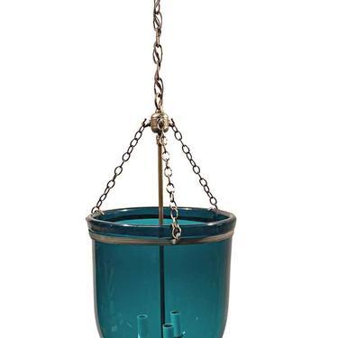 19th Century English 12 in. Blue Bell Jar Pendant Lantern