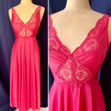 Olga Wide Sweep Gown, Nightie, Sheer Lace, Empire, Deep V, Style 9687, Lingerie, Size S by GabAboutVintage