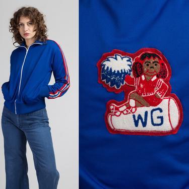 80s Cheerleader Patch Track Jacket - Small   Vintage Blue Striped Zip Up Tennis Sweatshirt by FlyingAppleVintage