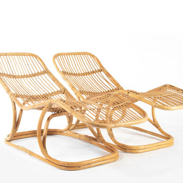Set of Two Boho Modern Rattan Chaise Lounge Chairs by ABTModern