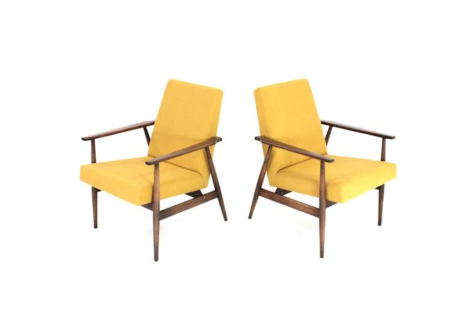Pair of Mid Century Lounge Chairs by Dux Mobler of Denmark in Mustard by SputnikFurnitureLLC