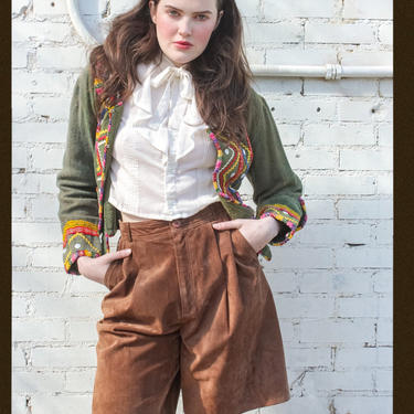 """Vintage Brown Suede High Waisted Pleated Shorts / Talbots Wide Leg Suede Shorts / Size 27 / 27"""" Waist by AmericanDrifter"""