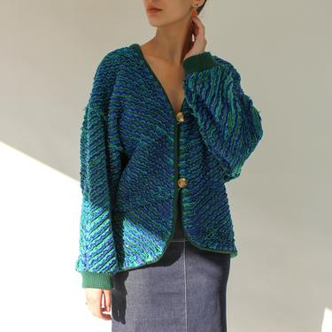 Vintage 80s Lapis Blue and Jade Green Raw Striped Oversized Cardigan Sweater w/ Flecked Metallic Gold | 1980s Chunky Reversible Sweater by TheVault1969
