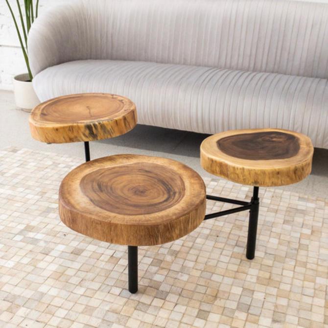 Wood Slice Coffee Table.3 Tier Wood Slice Coffee Table From Sunbeam Vintage Of Highland Park
