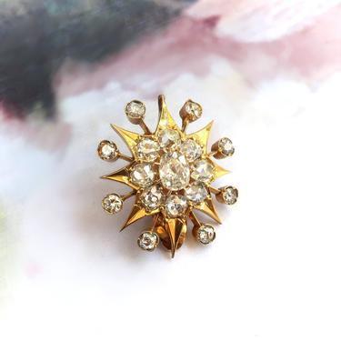 Antique Victorian Old European Cut Diamond Starburst Pendant Slide 18K by YourJewelryFinder