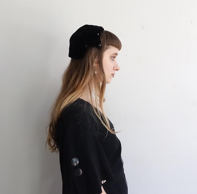 Vintage 50s Black Velvet Cap/ 1950s Pointed Vamp Fascinator Hat with Rhinestones/ Valerie Modes/Cocktail Hat by bottleofbread