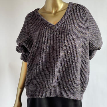 Boxy Oversized Sweater Purple with Colorful Confetti fits M - XL by BeggarsBanquet