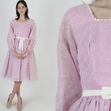Violet Swiss Dot Mini Dress / Large Full Skirt Polka Dot Dress / Vintage 70s Lace Party Midi Dress / Romantic Billowy Ball Gown by americanarchive
