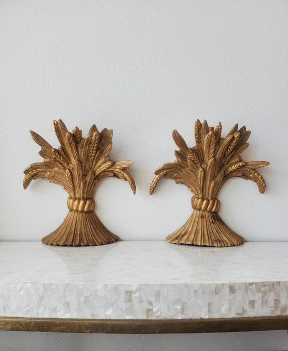 Antique Italian Neoclassical Carved Giltwood Wheat Sheaf Wall Sconce Pair, 19th / Early 20th Century. by LynxHollowAntiques