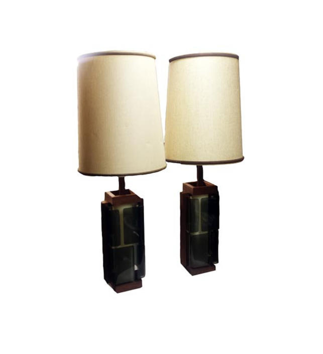 Vintage Smoked Lucite Lamps Mid Century Modern Table Lamps Danish
