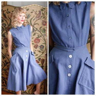 1950s Dress // Blue 2pc set by Sloat Blouse & Skirt // vintage 50s dress set by dethrosevintage