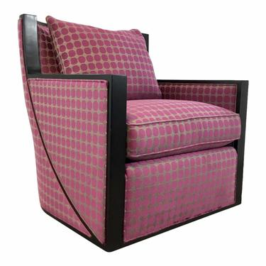 Hickory White Modern Pink and Gray Geometric Swivel Maxwell Club Chair