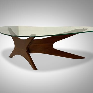 Adrian Pearsall #1465-T Glass Coffee Table with 3 Point Jacks Base, Circa 1960's - *please ask for a shipping quote before you buy. by CoolCatVintagePA