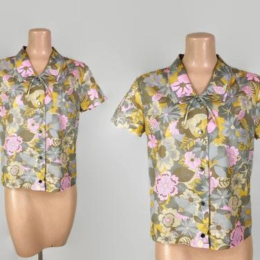 VINTAGE 60s MOD Floral Boxy Trevira Bow Tie Blouse | 1960s Double Collar Button Down Top | Vintage Summer Separates | Sz 42 XL Plus by IntrigueU4Ever