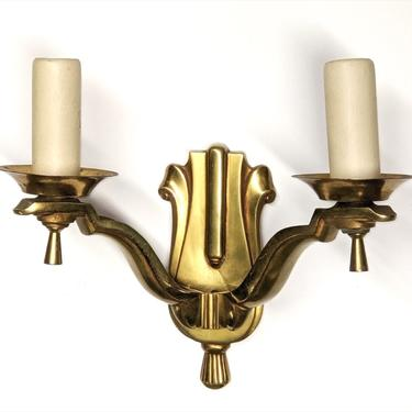 Pair of two-branch bronze sconces (#1618)