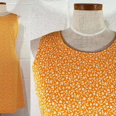 True Vintage Floral Print Dress Liz Claiborne Collection Sleeveless Summer Orange White 1980s 1990s Minimalist Minimal Small Medium by CheckEngineVintage