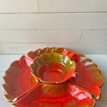 Vintage California Pottery Lazy Susan Serving Tray // Orange Chip, Appetizer Platter // Thanksgiving Appetizer Tray, Serving Dish // Gift by CuriouslyCuratedShop