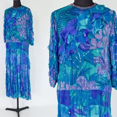 1980s Blue Silk Chiffon Ruffled Party Dress | 80s Blue Beaded Chiffon Dress | Judith Ann Creations | Medium by GlennasVintageShop