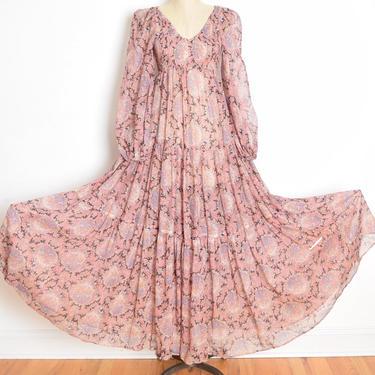 vintage 70s dress floral print gauze prairie cottagecore hippie boho full sweep maxi babydoll Jack Kramer long dress XS/S by huncamuncavintage