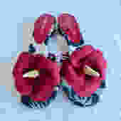 Vintage Size 8 Hawaiian Red Hibiscus Flower Suede Sandals Slip On Slides Beach Resort Ramon Tenza by seekcollect