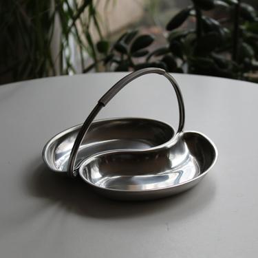 Rare Mid Century Modern Danish / Dansk Chrome Trinket / Spice Tray with Woven Handle and Kidney Bean Shape, Scandinavian Finnish 1960s by FancyHaus