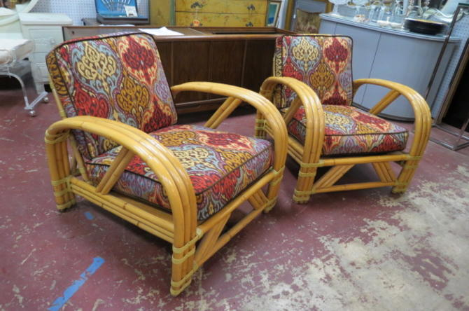 SALE! Vintage Mid century 2 bamboo lounge chairs