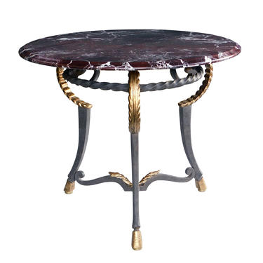 Hand-forged Iron Center/Side Table with Marble Top in the Style of Poillerat