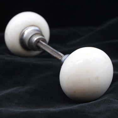 Pair of Antique White Porcelain Nickel Shank Door Knobs
