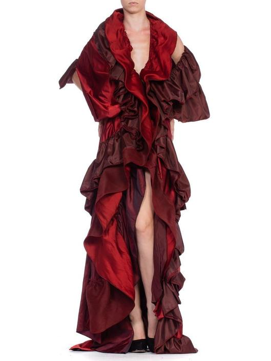 Morphew Collection Cranberry Red Silk  Rayon Duchess Satin Taffeta Asymmetrically Draped Dramatic Opera Coat Gown by SHOPMORPHEW