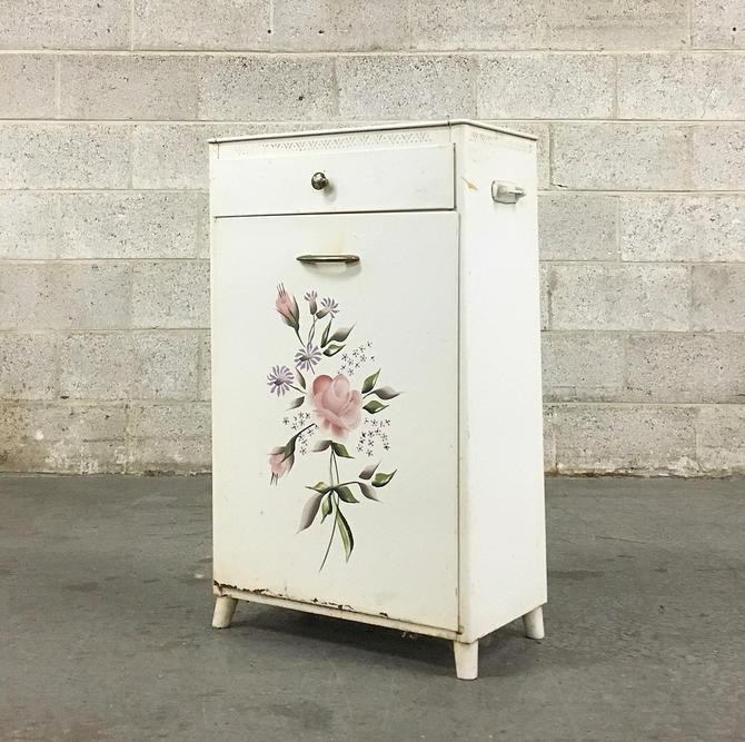Vintage Hamper Retro 1960s White Metal Clothes Hamper by Detecto + Painted Floral Details + Faux Marble Top Mid Century Bedroom Home Decor by RetrospectVintage215