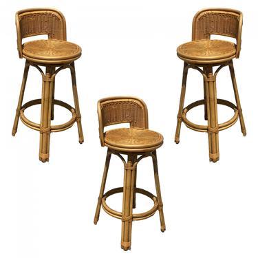 Mid Century Blond Bar Stool Set of Three with Woven Wicker Seats by HarveysonBeverly