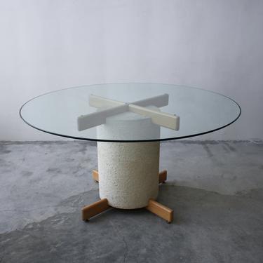 Postmodern Minimalist Oak and Plaster Dining Table Base by AgedModern