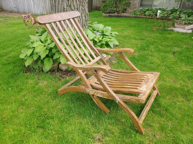 First Class Only Wood Folding Steamer Ship Deck Chair Lounge Chair by RedsRustyRelics