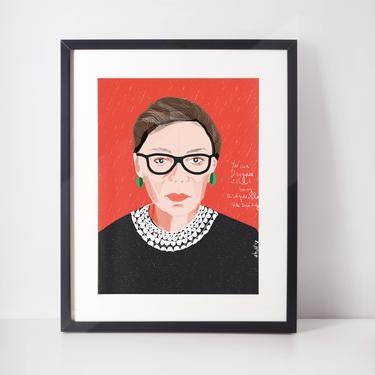 Ruth Bader Ginsburg RBG Portrait Art Print Wall Decor cubicle decor lawyers office art fan art by VioletredStudio