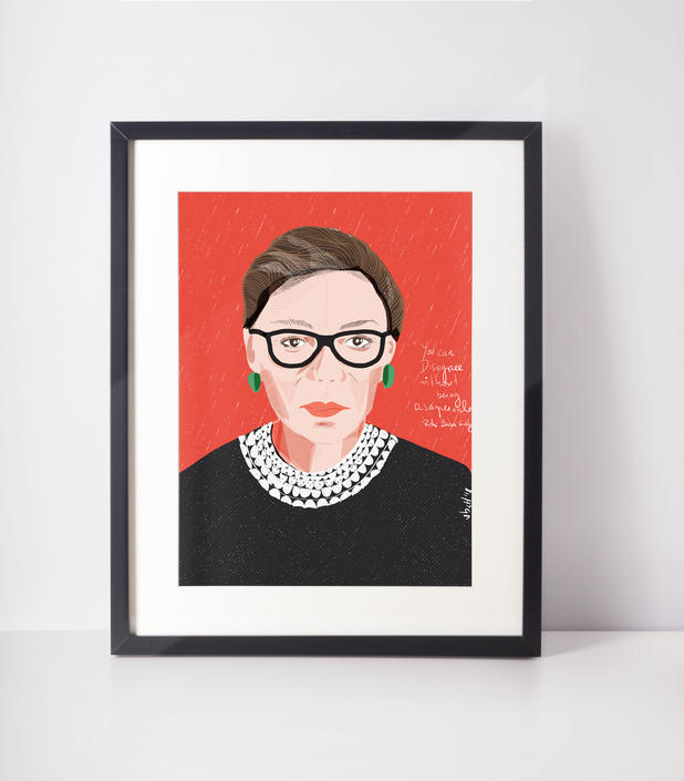 Ruth Bader Ginsburg- RBG Portrait - Iconic Women- Celebrity Portraits- Cubicle Decor- Office Art- Home Decor- Lady Boss Gift- Fan Art by VioletredStudio