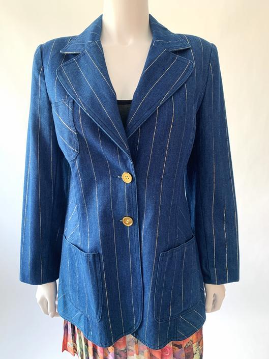 70's Lurex Pinstripe Denim Blazer w/ Flag Collar