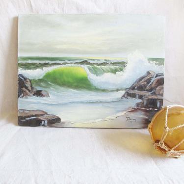 Vintage Ocean Canvas Painting - 70s Beach Oil Painting - Crashing Waves Beach Art - Beach House Decor - Nautical Home by MILKTEETHS